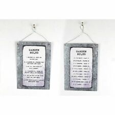 Metal & Wooden Garden Rules Slogan Hanging Sign Plaque Shabby Chic Gift Welcome