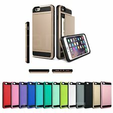 Hybrid Armour Hard Back Card Storage Slide Case Cover For Apple iPhone 5/6/6S/7+