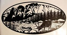 (1) STREAM WILDLIFE OVAL  DECAL VINYL GRAPHIC CAMPER TRAILER RV 5TH WHEEL TREES