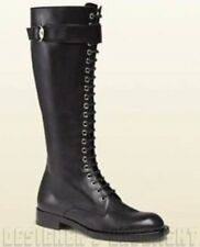 GUCCI black leather GEORGIA lace-up Buckled COMBAT flat boots NIB Authentc $1395