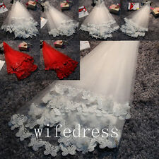 Elegant White/Red Elbow Length Bridal Short Veil Wedding Veils 1.35 Meters Long