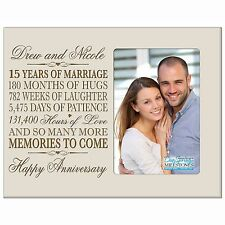15th Anniversary Wedding Gift Personalized 4x6 Picture Photo Frame Engraved