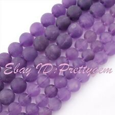"Round Natural Amethyst Frost Purple Gemstone Beads Jewelry Making 15"" 8mm 10mm"
