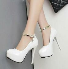 Lady Womens ankle strap buckle stiletto heels wedding party platform shoes