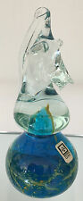 Early Blue and Yellow Mdina Glass Seahorse Paperweight with Labels signed Mdina