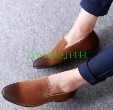 Men slip on suede leather pointy toe loafer driving shoes dress formal shoes YT3