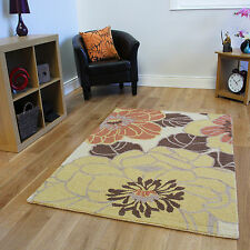 New Small Large Modern Wool Rug Thick Soft Durable Beige Terra Floral Lounge Mat