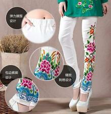Fashion Womens embroidered skinny stretch cotton leggings pants floral trousers
