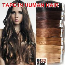 "4A 20Pcs-40Pcs 16""-24"" Tape In Skin Weft Remy Virgin Human Hair Extentions I396"