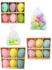 Gisela Graham Easter Egg Hanging Decorations Pastel Colours Polka Dot Stripes