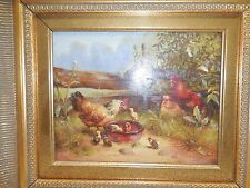 LARGE FRAMED OIL PAINTING ON BOARD OF FARM SCENE WITH COWS