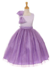 New Flower Girls Satin Sparkle Tulle Purple Dress Pageant Wedding Easter 6399