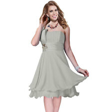One Shoulder 2 Layer Chiffon Formal Cocktail Prom Party Dress Pearl Grey