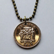 Jamaica 1 cent Jamaican pendant necklace coat of arms Ackee fruit n000239