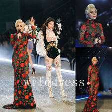 Sexy Black Lace Rose Appliques Evening Dresses Long Sleeves Formal Party Gowns