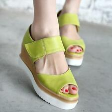 Womens lady Casual Candy Colors Peep toe Platform Wedges Sandals Shoes Plus SZ
