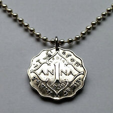 UK British India 1 Anna coin pendant Indian necklace jewelry Ana WWII n000341