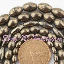 """Natural Pyrite Silver Gray Oval Shape Gemstone Beads Strand 15"""" 4x6,6x8,8x10mm"""