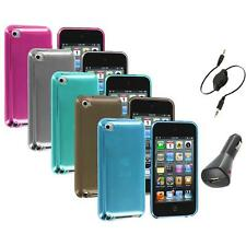 TPU Plain Rubber Jelly Skin Case Cover+Aux+Charger for iPod Touch 4th Gen 4G 4