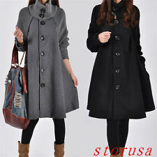Korean Women Lady Loose Trench Cape Coat Wool Blend Fashion Outwear Jacket Coat