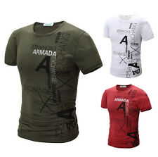 Fashion Mens Stylish Casual T-Shirts Short Sleeve Crew Neck Slim Fit Shirts jd15