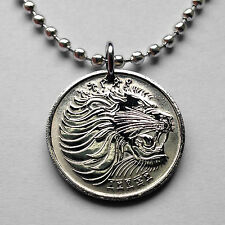 Ethiopia 25 cents coin pendant Lion of Judah necklace Rasta Jewish tribe n001167