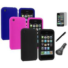 Color Silicone Rubber Gel Case Cover+LCD+Charger+Pen for Apple iPhone 3G 3GS