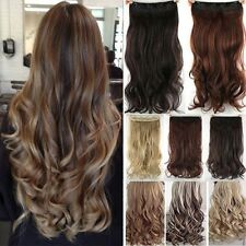 One Piece Natural Full Head Clip in Thick Hair Extensions Wavy Straight Thick ld