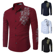 NEW Mens Luxury Casual Formal Shirt Long Sleeve Slim Fit Business Dress Shirts