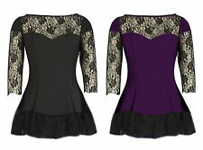 6/8 - 26 BLACK PURPLE LACE SLEEVE LONG FISHTAIL GOTHIC FLARED SKATER LOLITA TOP