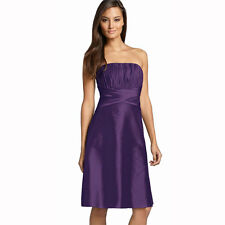 Strapless Pleated Knee Length Formal Taffeta Cocktail Party Dress Grape