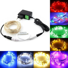 5m 100 LEDs Silver Wire String Fairy Party Wedding Light Controller + Adapter EU