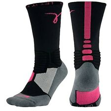 Nike Hyper Elite Basketball Cushioned Sock KAY YOW Breast Cancer Pink Black L XL