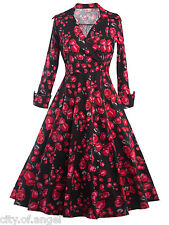 1950's 60s Womens Vintage Rose Rockabilly Retro Swing Party Evening Formal Dress