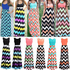 BOHO Women's Striped Sleeveless Long Maxi Dress Summer Party Cocktail Prom Gown