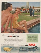 1954 TWA Airlines Skyliner Lockheed Constellation Phoenix AZ Swimming Pool Ad