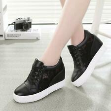 Fashion mesh Womens lace Wedge Heel Platform Lace Up Sneakers skate board Shoes