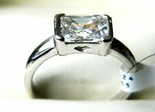 NEW 925 Sterling Silver Ladies/ Womens Clear CZ Emerald Cut Ring J,L,N,P,Q,S,T,U