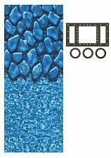 Above Ground 20 Gauge Round Boulder Swimming Pool Overlap Liners w/ Gasket Kit