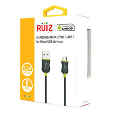 RUIZ Cellet 6FT Long Charging Data Sync Micro USB Charger Cable Cord - Green