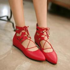 Womens Pointy Toe Ballet Flat sandals Lace Up Strappy zip Oxfords Lolita Shoes