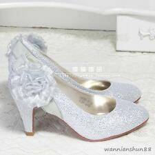 Womens flower Sequins Kitten mid Heel Bride Round Toe pumps Party wedding shoes