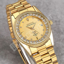 Attractive 18K Gold Crystal Dial Steel Quartz Date Mens Luxury Wrist Watch