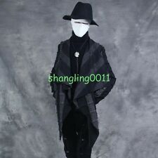 Dark Punk Mens Tassel Cotton Retro Cardigan Long Slim Fit Jacket Gothic Coat XL