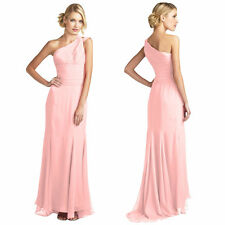 One Shoulder Fitted Body-Wrap Chiffon Formal Ball Gown Evening Dress Light Pink