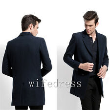 Handsome Men's Winter Wool Coats Warm Business Jackets Lapel Neck Slim Outwear