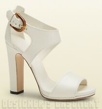 GUCCI off-white Leather NADEGE bold BAMBOO buckle sandals shoes NIB Authent $795