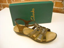 Clarks Ina Embrace Metallic Leather Ankle Strap Sandal New