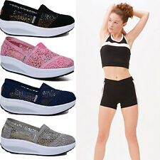 Ladies Get Fit Go Walking Slip On Gym Fitness Mesh Fretwork Trainer Shoes Size G