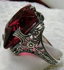 12ct Square *Red Ruby* Sterling Silver Victorian Filigree Ring {Made To Order}